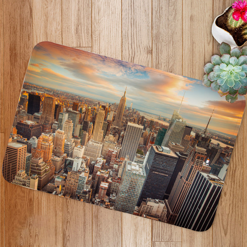 Sunset Aerial View Manhattan New York City Bath Mat
