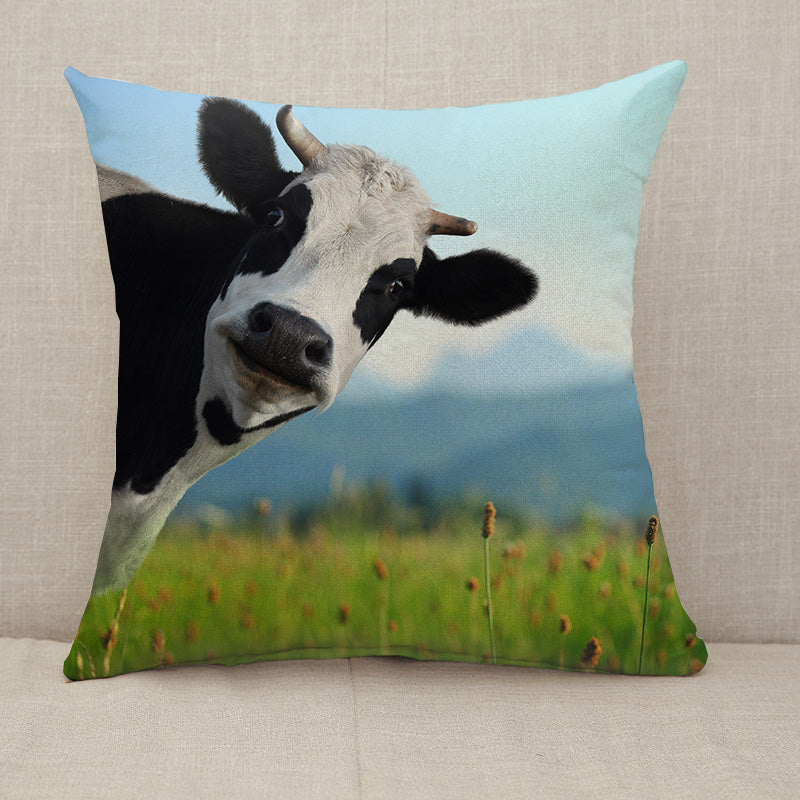Curious Cow On Green Meadow Throw Pillow [With Inserts]