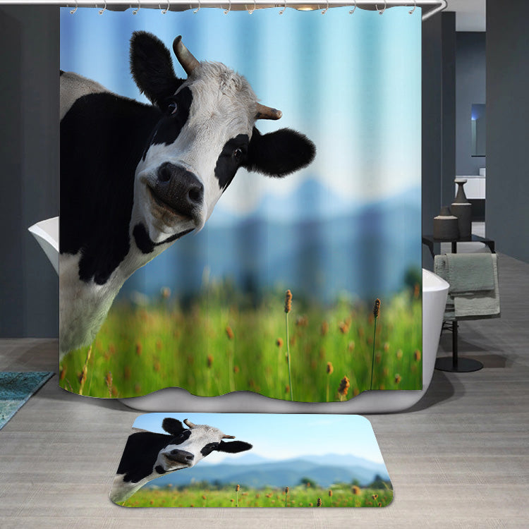 Curious Cow On Green Meadow Shower Curtain