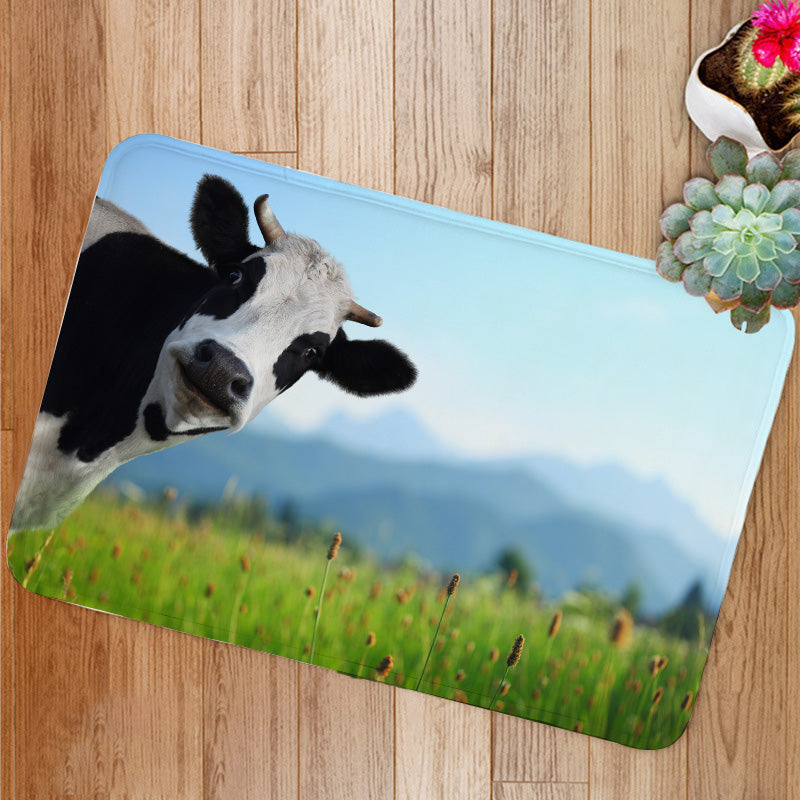 Curious Cow On Green Meadow Bath Mat