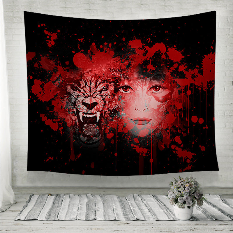 Wolf and Girl Wall Tapestry