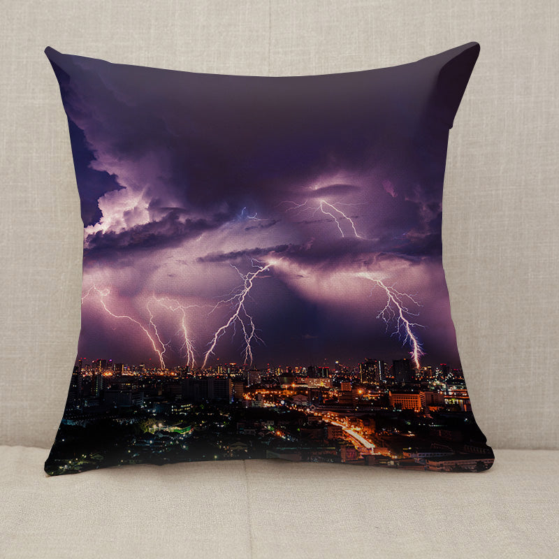 Lightning storm over city in purple light Throw Pillow [With Inserts]
