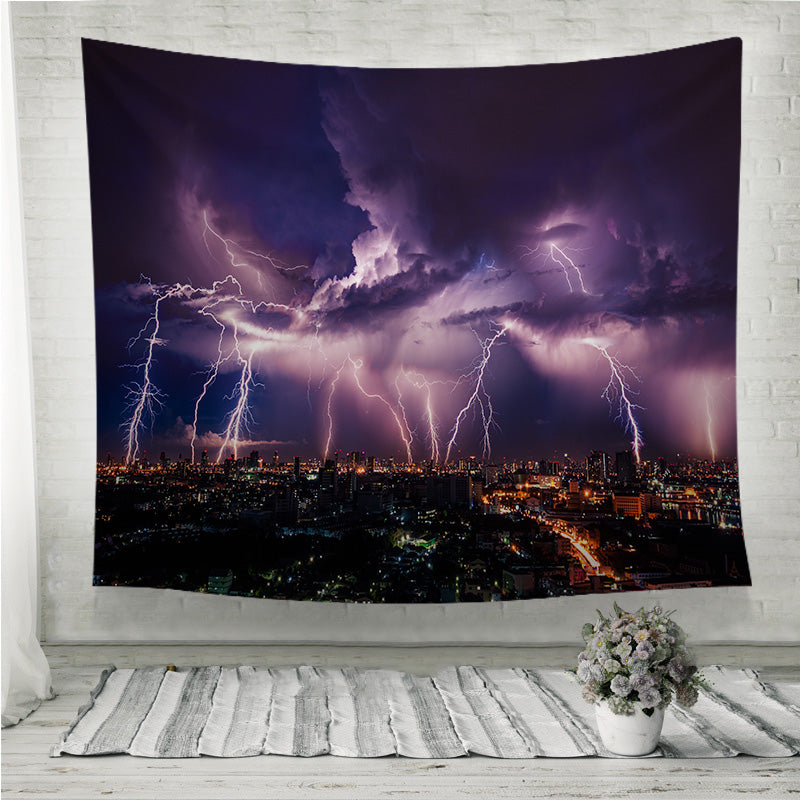 Lightning storm over city in purple light Wall Tapestry