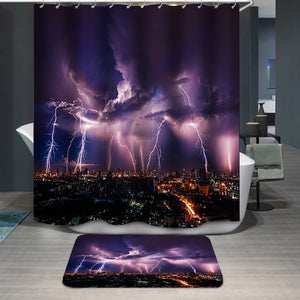 Lightning storm over city in purple light Shower Curtain