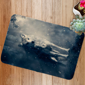 Fantasy wolf in the forest Bath Mat