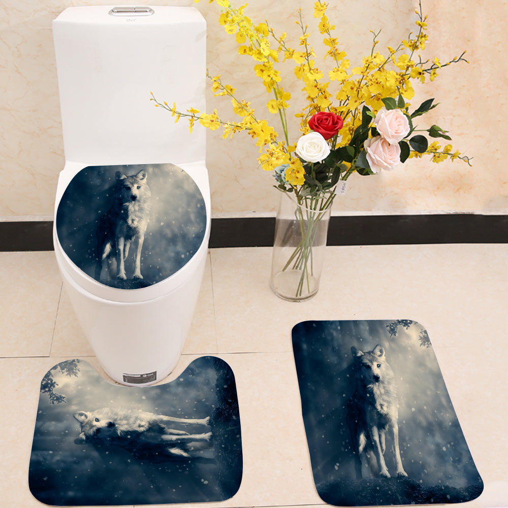 Fantasy wolf in the forest 3 Piece Toilet Cover Set