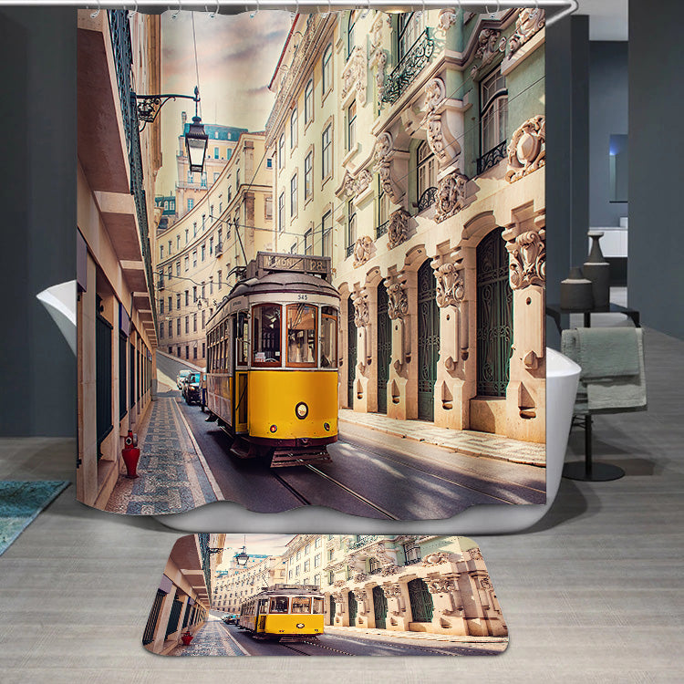 Yellow tram in Lisbon Portugal Shower Curtain