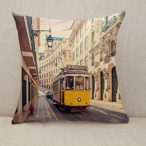 Yellow tram in Lisbon Portugal Throw Pillow [With Inserts]