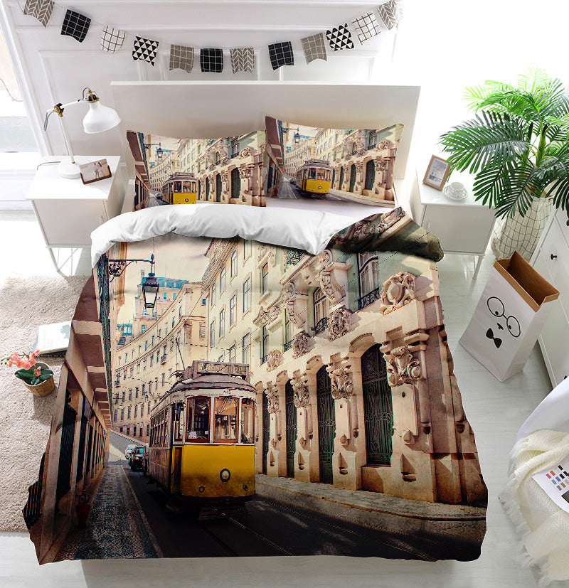Yellow tram in Lisbon Portugal Duvet Cover Bedding Set