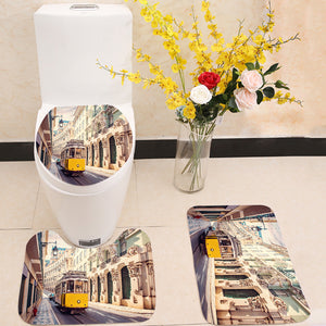 Yellow tram in Lisbon Portugal 3 Piece Toilet Cover Set