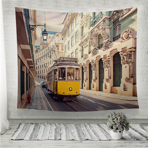 Yellow tram in Lisbon Portugal Wall Tapestry
