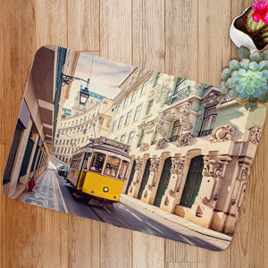 Yellow tram in Lisbon Portugal Bath Mat