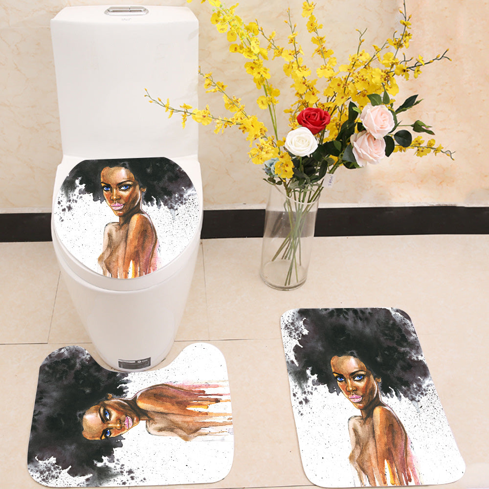 Beauty african woman 3 Piece Toilet Cover Set