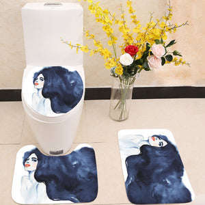 Hand drawn beauty brunette woman 3 Piece Toilet Cover Set