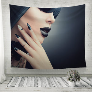 Fashion model with gothic makeup Wall Tapestry