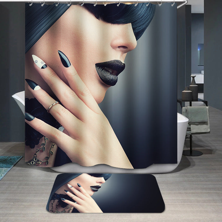 Fashion model with gothic makeup Shower Curtain