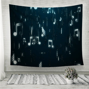 White music notes Wall Tapestry