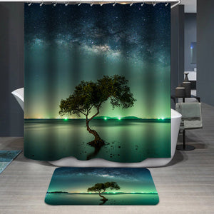 Milky way galaxy night sky stars Shower Curtain