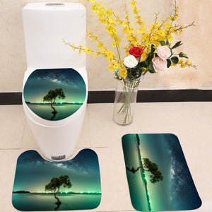 Milky way galaxy night sky stars 3 Piece Toilet Cover Set