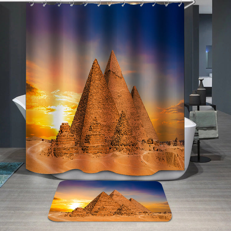 Great Pyramids of Giza Egypt sunset Shower Curtain