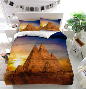 Great Pyramids of Giza Egypt sunset Duvet Cover Bedding Set