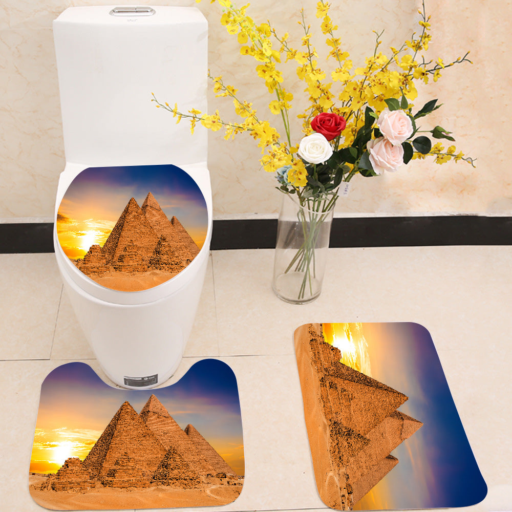 Great Pyramids of Giza Egypt sunset 3 Piece Toilet Cover Set