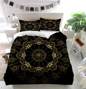 Golden Flower Mandala Duvet Cover Bedding Set