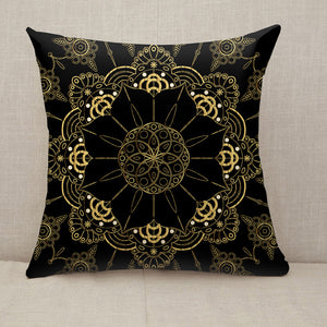 Golden Flower Mandala Throw Pillow [With Inserts]