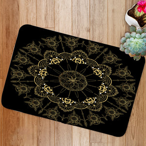 Golden Flower Mandala Bath Mat