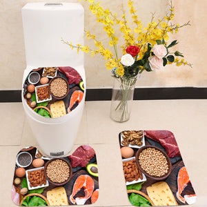 High protein food 3 Piece Toilet Cover Set