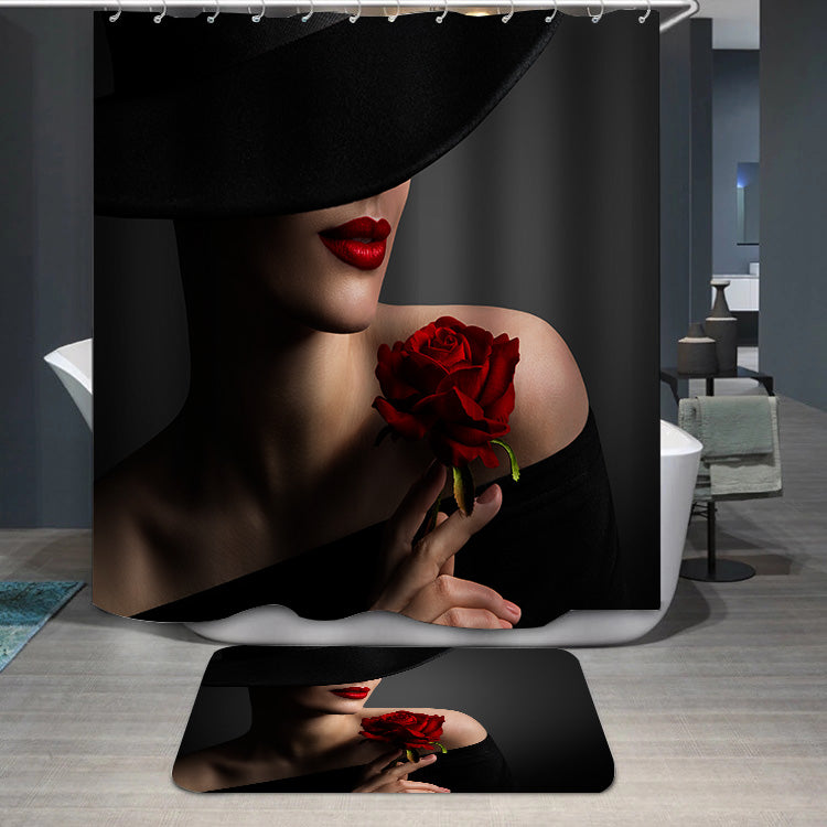 Woman Red Lips and Rose Flower Shower Curtain