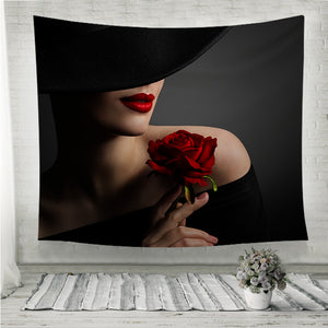 Woman Red Lips and Rose Flower Wall Tapestry