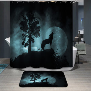 Howling wolf full moon Shower Curtain