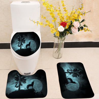 Howling wolf full moon 3 Piece Toilet Cover Set