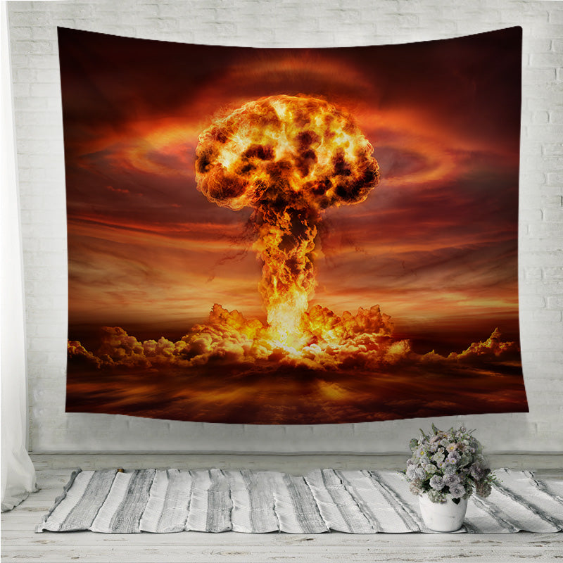 Nuclear Bomb Explosion Mushroom Cloud Wall Tapestry