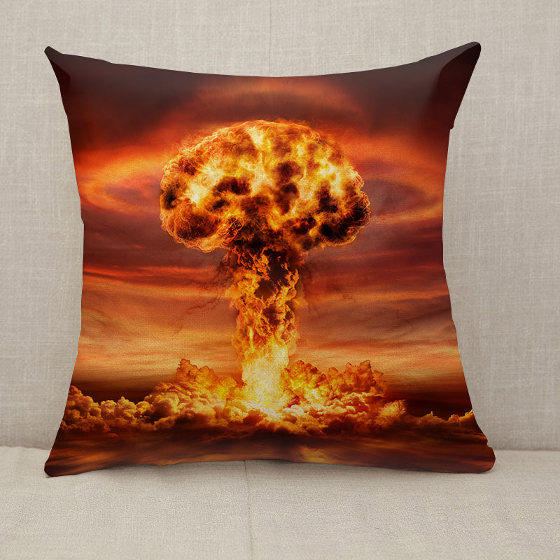 Nuclear Bomb Explosion Mushroom Cloud Throw Pillow [With Inserts]