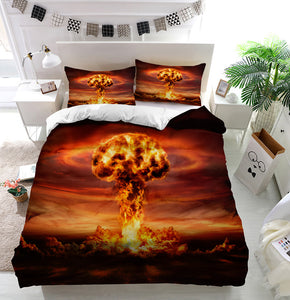 Nuclear Bomb Explosion Mushroom Cloud Duvet Cover Bedding Set