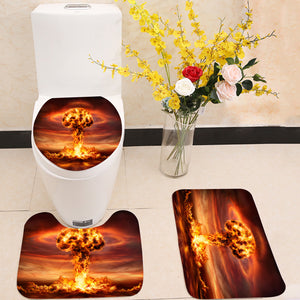 Nuclear Bomb Explosion Mushroom Cloud 3 Piece Toilet Cover Set