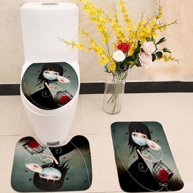 Beauty and Beast 3 Piece Toilet Cover Set