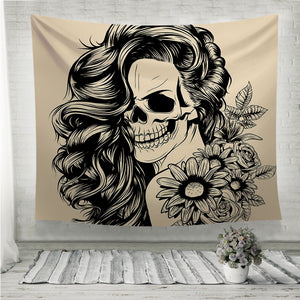 Day of the dead woman face Wall Tapestry