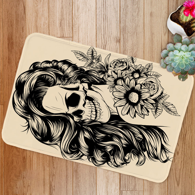 Day of the dead woman face Bath Mat