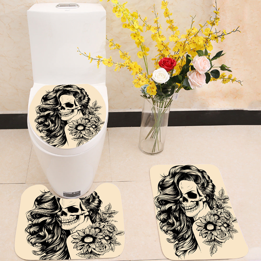 Day of the dead woman face 3 Piece Toilet Cover Set