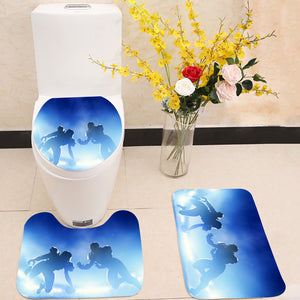 American football touchdown 3 Piece Toilet Cover Set