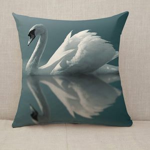 Swan Reflections Throw Pillow [With Inserts]