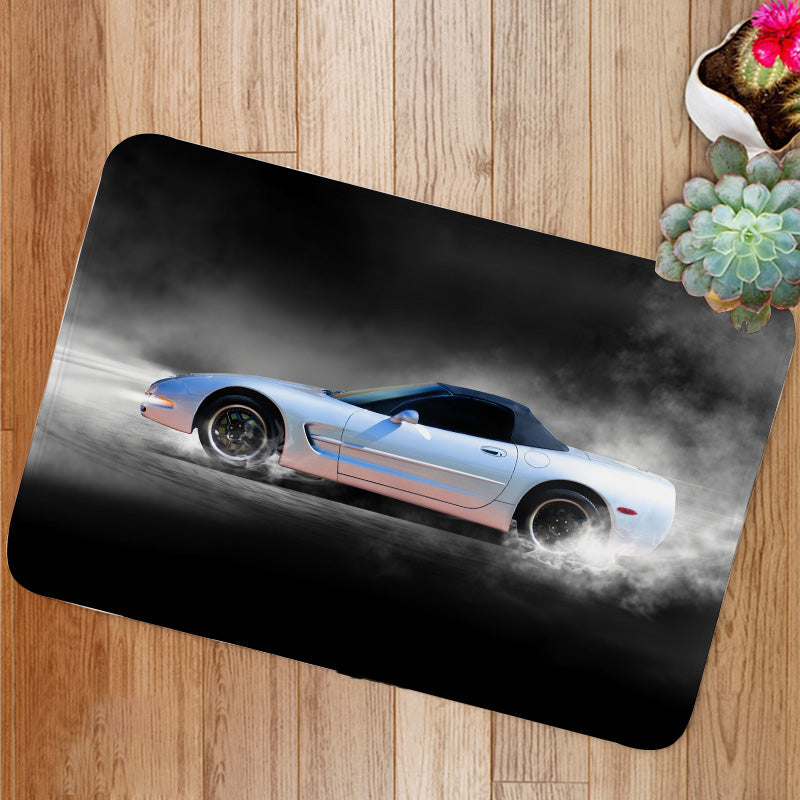 Sports car accelerating with smoke Bath Mat