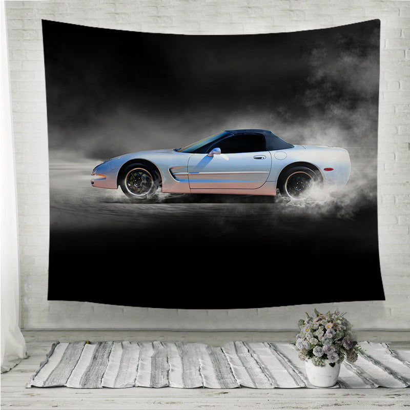 Sports car accelerating with smoke Wall Tapestry