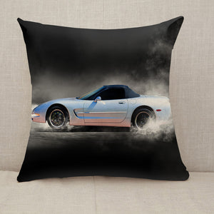 Sports car accelerating with smoke Throw Pillow [With Inserts]
