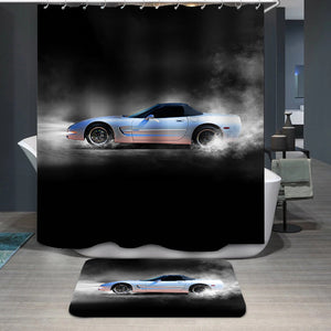 Sports car accelerating with smoke Shower Curtain