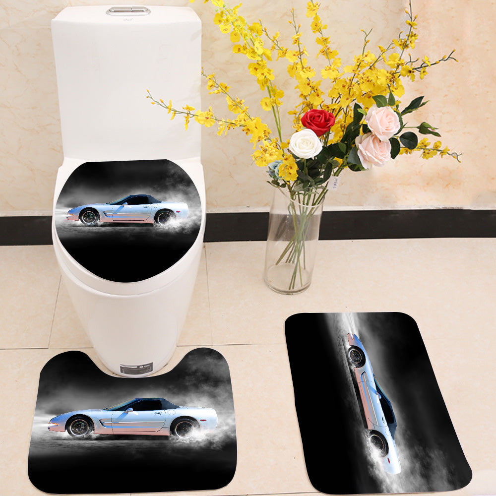 Sports car accelerating with smoke 3 Piece Toilet Cover Set