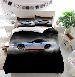Sports car accelerating with smoke Duvet Cover Bedding Set